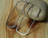 Handmade hammered stainless steel rectangle hoop, one pair (item ID SS12G20)