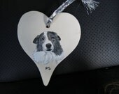 Pet Memorial Christmas Ornament Hand Painted and Made to Order Ceramic Heart Mans Best Friend by Pigatopia