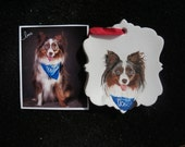 Australian Shepherd Pet Portrait Ceramic Ornament Hand Painted and Made to Order Aussie by Pigatopia