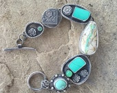 A very minty one....... Sterling silver handcrafted bracelet. American turquoise, and chrysoprase.