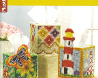 Tissue Box Covers ~ plastic canvas book  ~  Herrschners / Leisure Arts