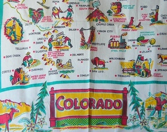 Vintage 40s Square Table Cloth COLORADO Map FEEDSACK Souvenir Atomic MCM Cottage Cabin Decor Never Used