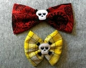 Iridescent Crossbones Kawaii Skull Bow Set of 2 pcs Red and Blac Day of the Dead Sugar Skull Print and Yellow Plaid