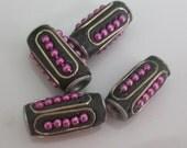 Tibetan beads-black and pink with silver Tibetan Nepal beads beading supplies loose beads-ONE BEAD