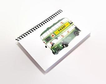 Green Dublin Bus Spiral Notebook, Travel Journal, Double Decker Bus, Mid Century Modern, Blank Sketchbook, A6 Notebook, Spiral Bound Journal