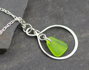 Green Sea glass Necklace - Sea glass jewelry - Beach glass necklace - Gift for her - Simple necklace - Maid of Honor gift - Lime green