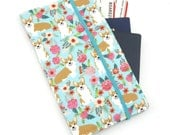 Mint Corgi Dog Travel organizer, Travel wallet, passport holder, family travel organizer, passport wallet, travel organizer