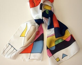 "Hand Painted Silk Scarf. Miro style silk scarf. Hand Painted Silk Shawl.Wedding Gift. Silk Art. 55""x18""  (140x45 cm) Ooak scarves"