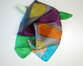 Hand painted Silk Mini-Hand painted Silk scarf - Silk mini-scarf - Woman scarf 21.7x21.7 - Rothko style