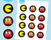 Instant download - PAC MAN 2 Inch Party Dots - DIY Printable