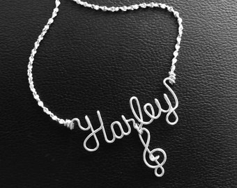 Personalized Silver or Gold Wire Name Necklace/Anklet~Music Note~Treble Clef Charm w/Swarovski Birthstone~Personalized Jewelry~Musician Gift