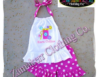 Girl Birthday Bubbles Outfit Pant Set Halter Capri Pink Short Custom Boutique Clothing Birthday Size 6 9 12 18 24 month 2t 3t 4t 5t 6 7 8