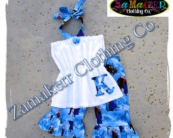 Custom Boutique Clothing Girl Elsa Anna Frozen Halter Pant Set Birthday Outfit Summer Size 3 6 9 12 18 24 month size 2t 2 3t 4 4t 5t 6 7 8 t