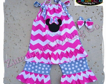 Girl Minnie Mouse Birthday Summer Pink Chevron Outfit Capri Shorts Pant Set Toddler Baby Size 6 9 12 18 24 month 2T 2 3T 3 4T 4 5 5T 6 7 8