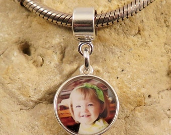 BESTSELLER - Double-Sided Circle Sterling Custom Photo Charm for European Charm Bracelets
