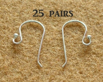 925 Sterling Silver Earring Hooks - EARWIRES WITH BALLS 21 Gauge - 25 Pairs(50 pieces)