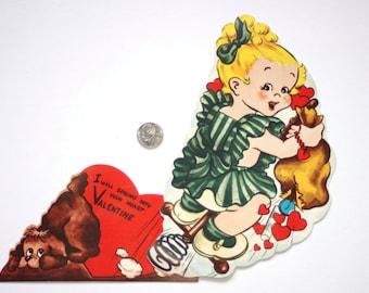 LARGE Vintage Mechanical GIRL Dog Pogo Stick Antique VALENTINE 1950'S Card