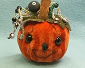 Mohair Pumpkin   Halloween Spider Pincushion