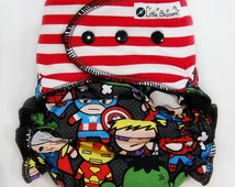 Custom Cloth Diaper AI2 Made to Order - All-in-2 Cloth Nappy -  Combo Print Stripes and Superheroes (Knit) - Kawaii Diaper Nappy