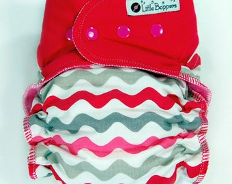 Made to Order Cloth Diaper or Cover - Your Choice Size and Style - Pink Waves (Woven) with Fuchsia Wings - AI2, Fitted, Hybrid or Cover...