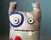 Monster Art Doll, Small Plush Cute Monster Doll, Fun Plush Doll, One of a kind Children Doll, Children Monster Plush Toy