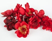 sweetheart sale- REDUCED- was 8.87 - 10 Wild and Whimsy Rose Blossoms in Red - Silk Flowers, Artificial Flowers - ITEM 0865
