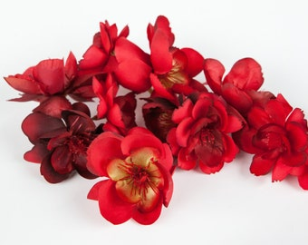 10 Wild and Whimsy Rose Blossoms in Red - Silk Flowers, Artificial Flowers - ITEM 0865