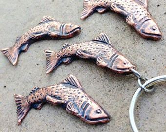 Copper Trout Key Chain, Fly Fishing Gift, Trout Key Ring, Fishing Keychain, Trout Keyring