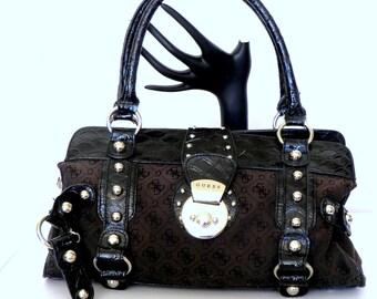 Guess G Logo Brown/ Black Handbag, Shoulder Bag, Canvas, Studded, Croco Embossed