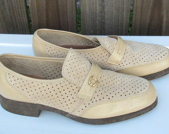 Sz 9.5 Mens Loafers Vintage Hush Puppies / Two Tone  Suede /Leather Loafers