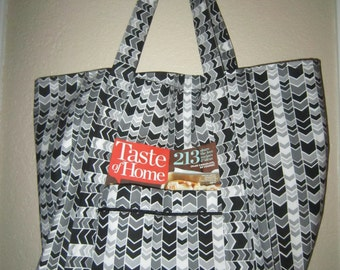 "Double Extra Large Durable 15.5"" Grocery Shopper Reversible Market Tote Bag Black, Grey & White Zig Zag with POCKET(S)*"