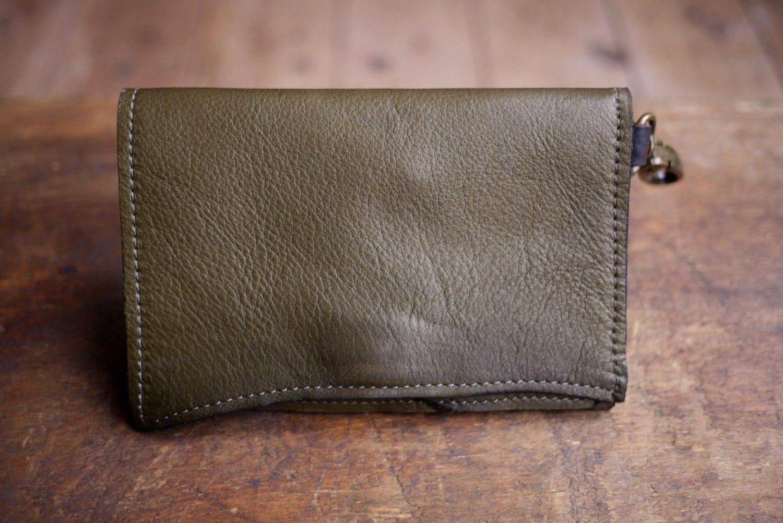 OOAK Olive Green Leather Wallet w/zipper Coin Pocket