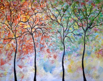 4 seasons tree -by Vadal  14 x 11  x 3/4 - canvas Print
