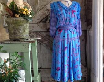 On sale 1980s dress 80s designer dress size medium Vintage 80s dress Diane Freis dress aqua dress