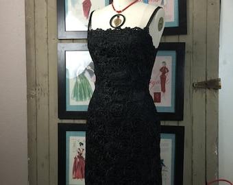 1950s dress raffia dress wiggle dress black dress 50s dress vintage dress sleeveless dress bombshell dress