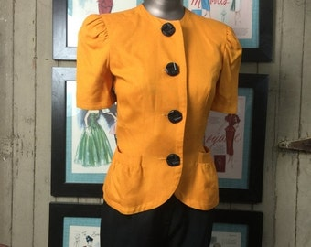 Fall sale 1980s yellow jacket 80s fitted blazer size small Vintage jacket short sleeve jacket