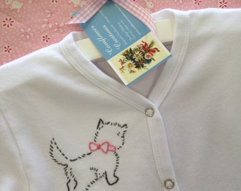 My Little Kitty - Hand Embroidered Snap Down Front Romper