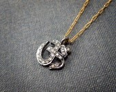 Tiny Pave Diamond Om Necklace on Gold Chain