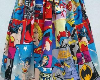 Full Skirt Made From Girl Power Fabric Pink Print - Wonder Woman Batgirl Supergirl