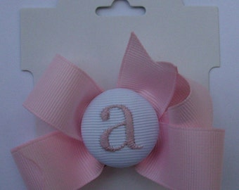 Infant Monogram, Initial Hair Bow, Girls Hair Bows, Easter Baby, New Clip, Ribbon Letter, Embroidered Girls, Button Custom, Boutique Gifts,