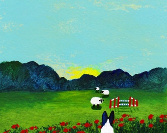 Border Collie Dog Folk Art print of Todd Young painting AGILITY GATE