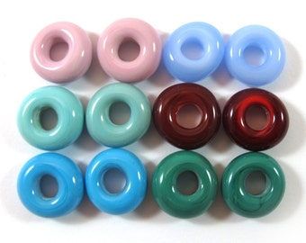 Lampwork beads glass set, Lampwork Beads set, rounds (12) SRA