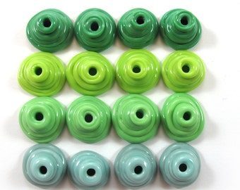 Handmade Lampwork Beads Glass, Lampwork beads set, Cone Shape Bead Caps, green, turquoise (16) SRA