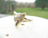 Charming Antique Fox Ring, Sparkly Old Cut Diamond Eyes, Solid 14K Gold Ring with Nice Details