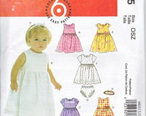 McCalls 6015 Infants Baby Girls Lined Dresses Panties Headband Easy Sewing Pattern Sizes S-XL Out of Print UNCUT