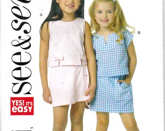 Butterick 5591 Girls Tops and Skorts Easy See & Sew Sewing Pattern Sizes 3-6 Out of Print UNCUT
