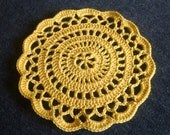"""New Handmade Crocheted """"Elegance"""" Coaster/Doily in Goldenrod"""
