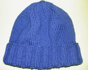 New Handmade Midnight Blue Simple Knit Hat - Medium (Darker Blue than pics show)
