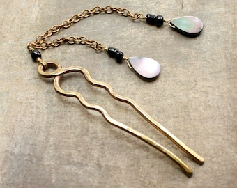 Stormy Hairpin in Brass, Glass, and Mother of Pearl Beads