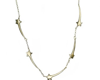 Five Shooting Star Necklace in Brass and Gold Fill
